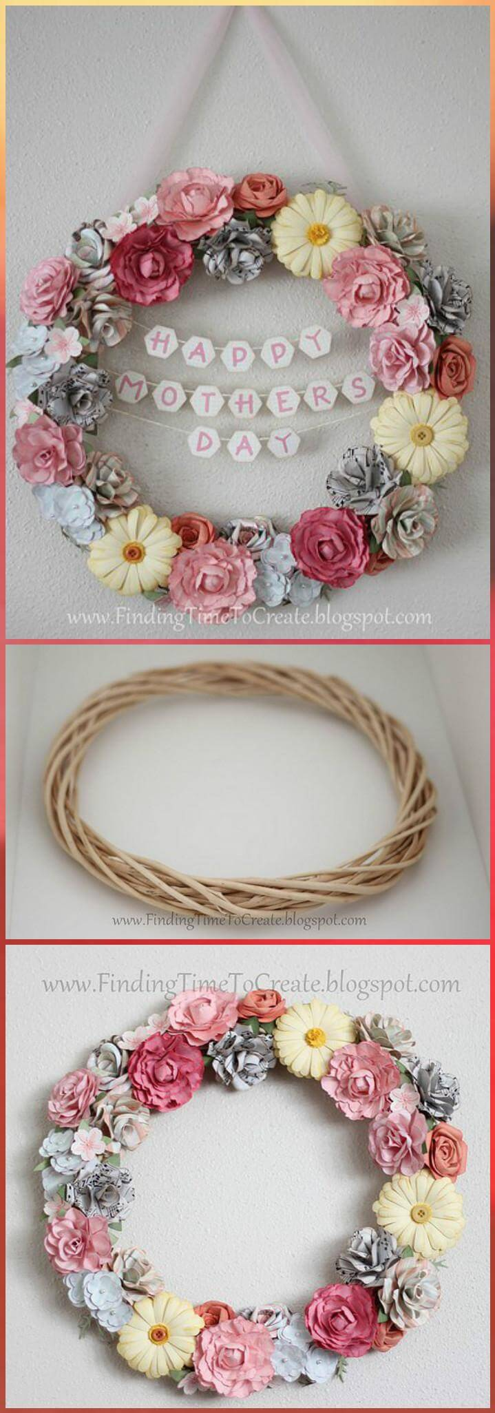 handmade flower wreath Mother's Day gift idea