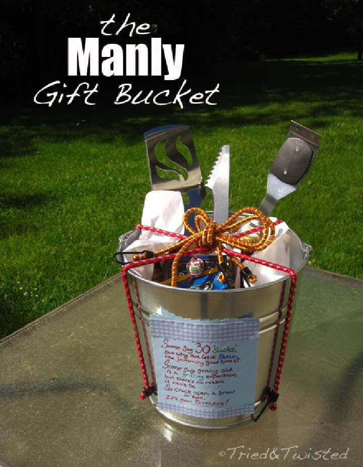 DIY GIft Bucket Wrapped in Bungee Cord