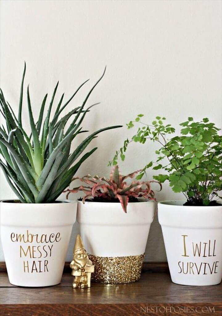 DIY Gold Foil Letting Succulent Pots