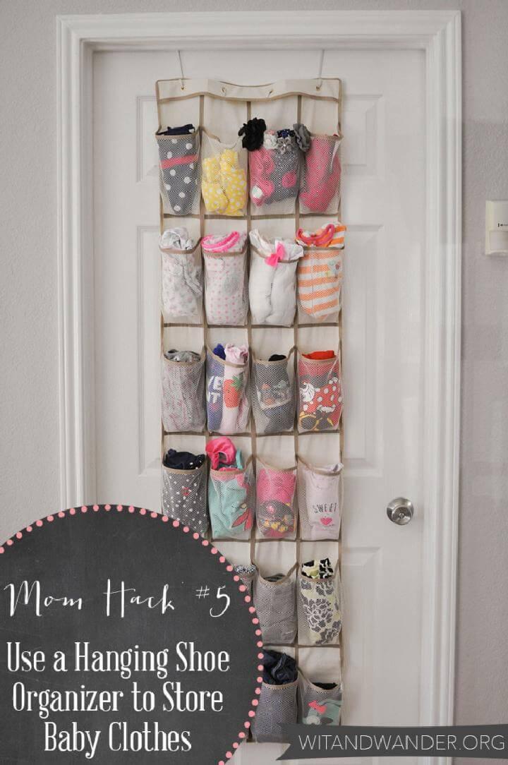 Diy 20 insanely genius ways to organize baby clothes diy - Baby shoe organizer ideas ...