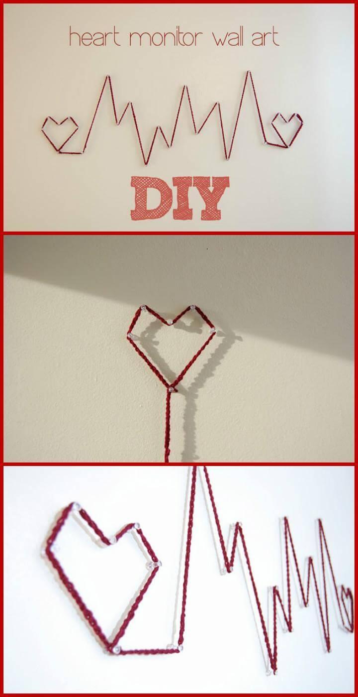 DIY Heart Monitor String Wall Art