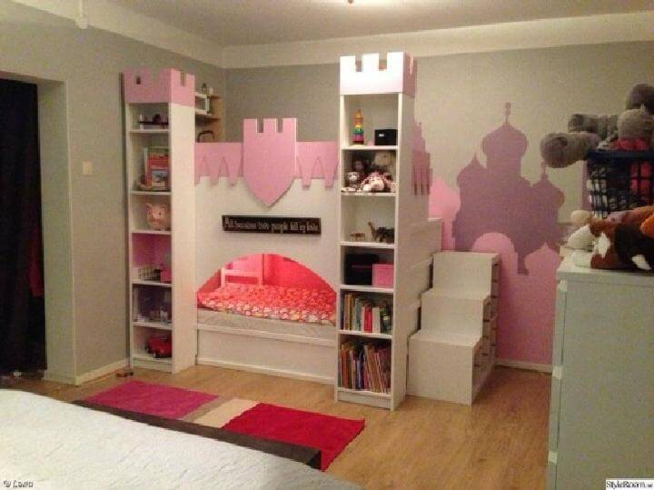 DIY IKEA BILLY Bookcase Castle with Upper Play Deck