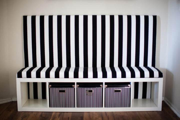 DIY IKEA Kallax Black and White Banquette Seat