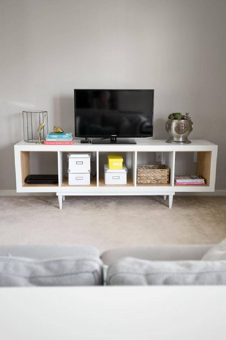 Extra Brilliant DIY IKEA Shelving Unit into TV Stand