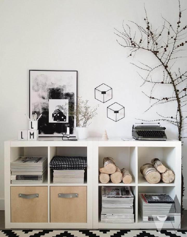 DIY Kallax Shelving Units into Storage Unit with Natural Elements