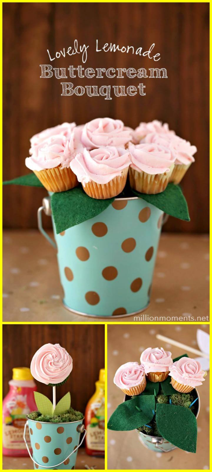 easy handmade lemonade buttercream bouquet