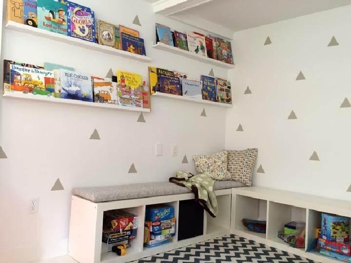 DIY Modern IKEA Kallax Corner Reading Nook Bench