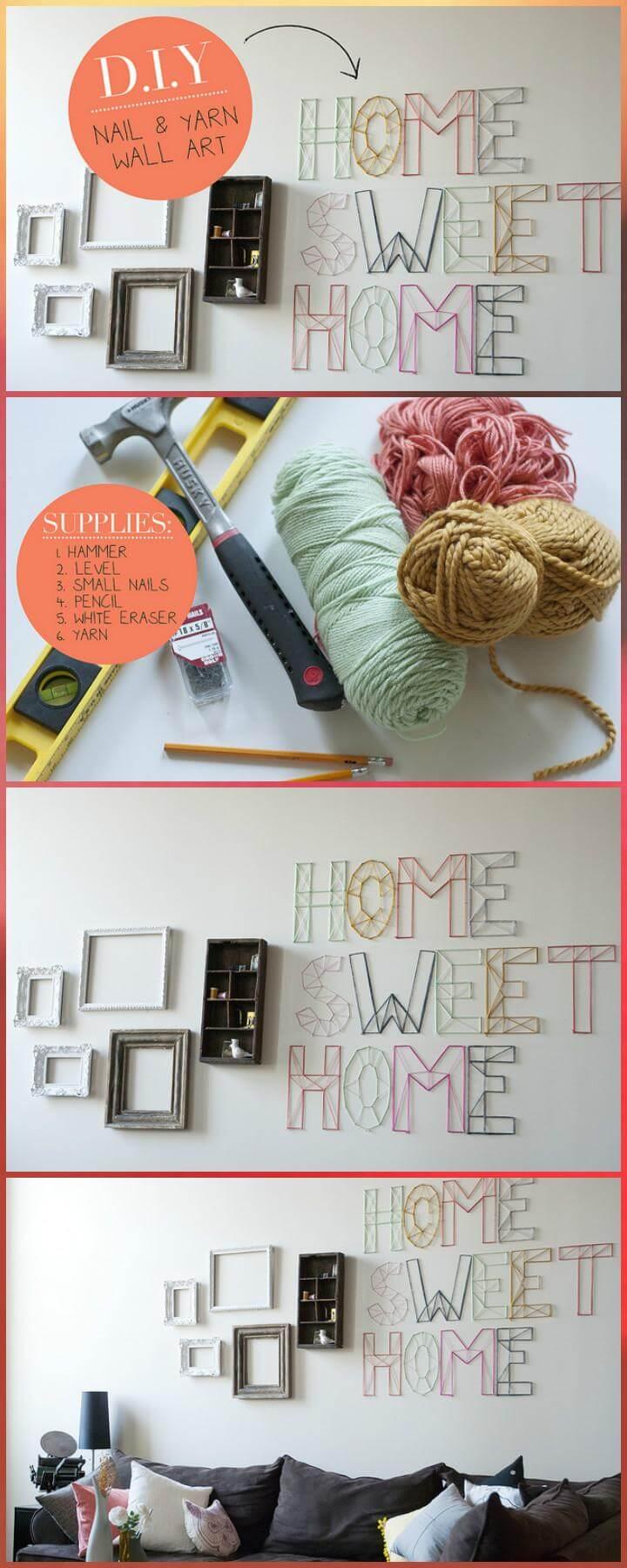 DIY Nail and Yarn Letter Wall Art