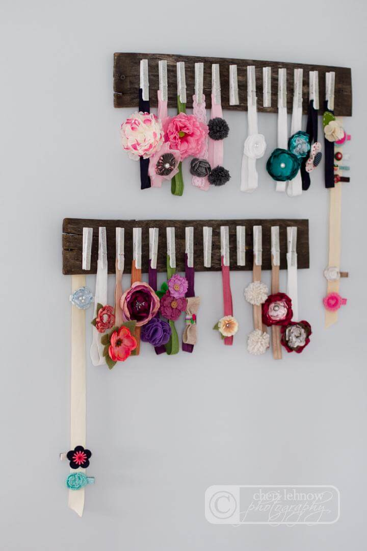 DIY Old Wood and Clothespin Baby Headband Holder