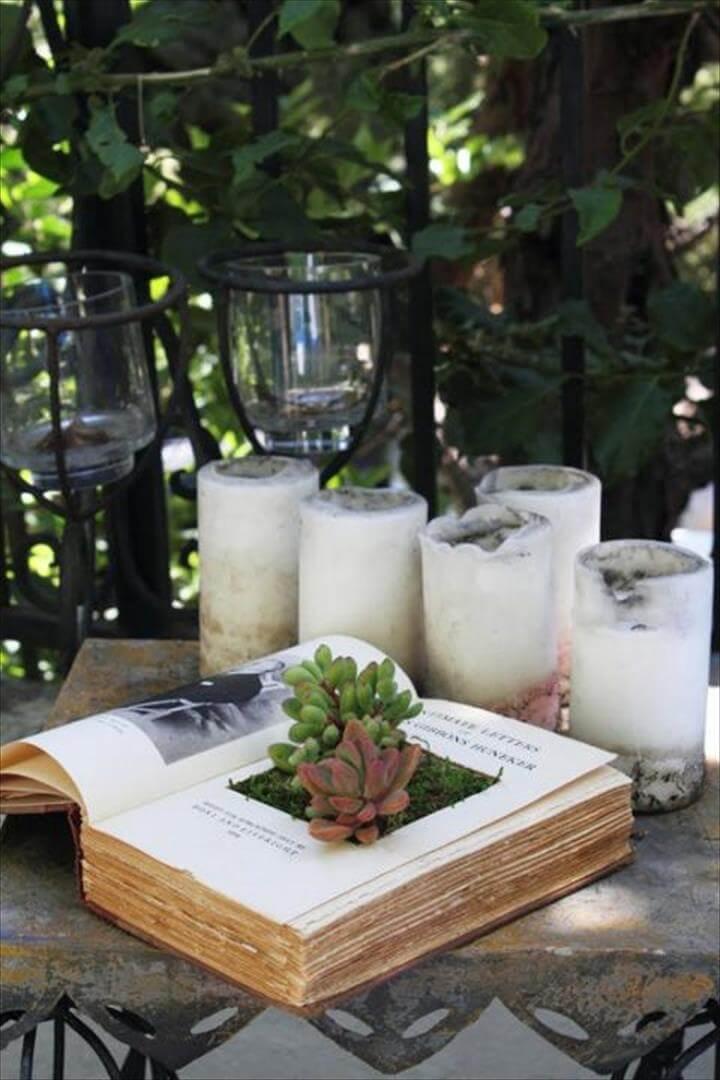 DIY Succulent Open Books