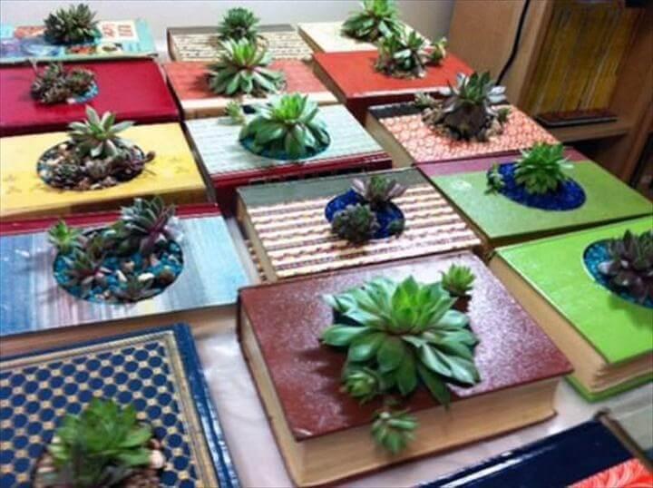 DIY Vintage Books Succulent Planters for Indoor