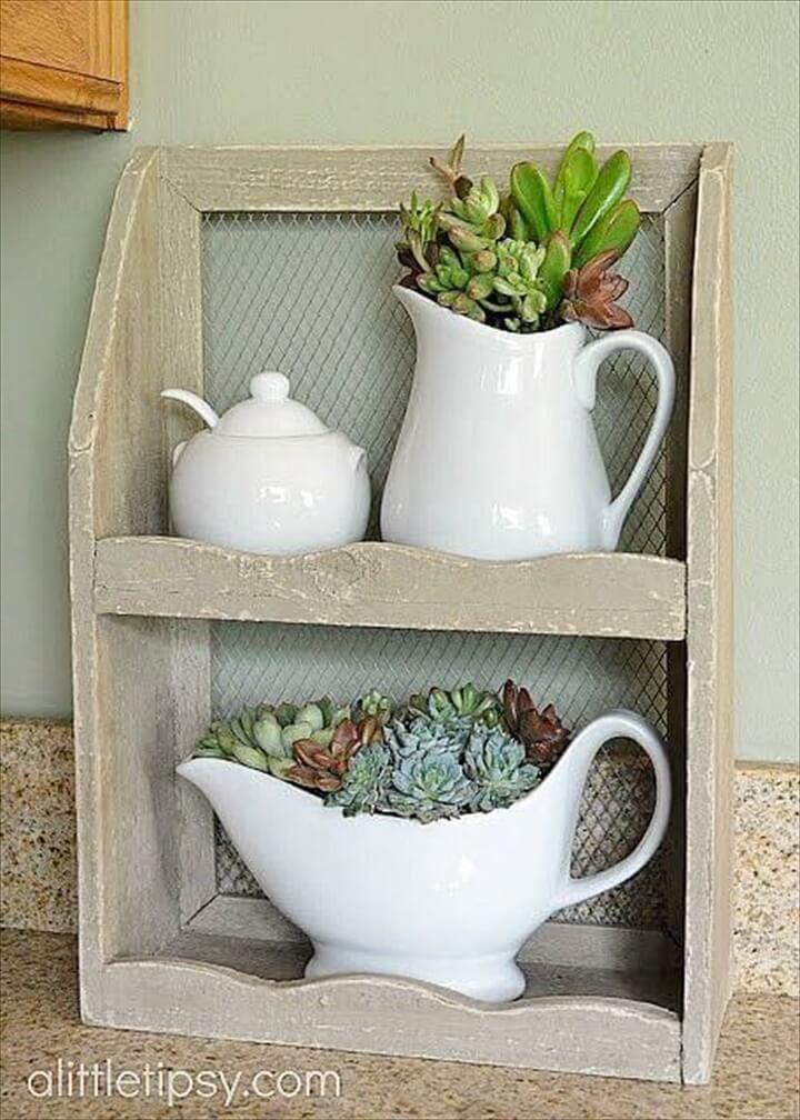 DIY White Ceramic Pitcher Succulent Indoor Display