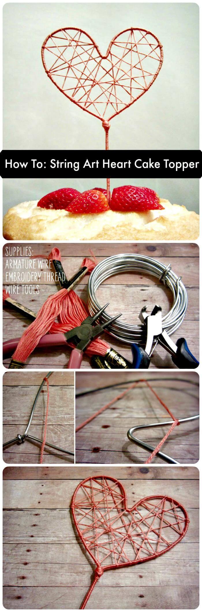 How To String Art Heart Cake Topper
