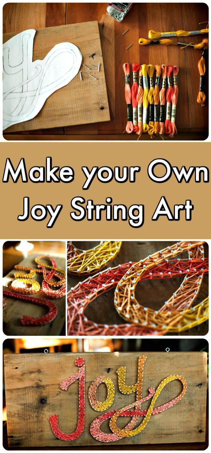 Joy String Art with Wood