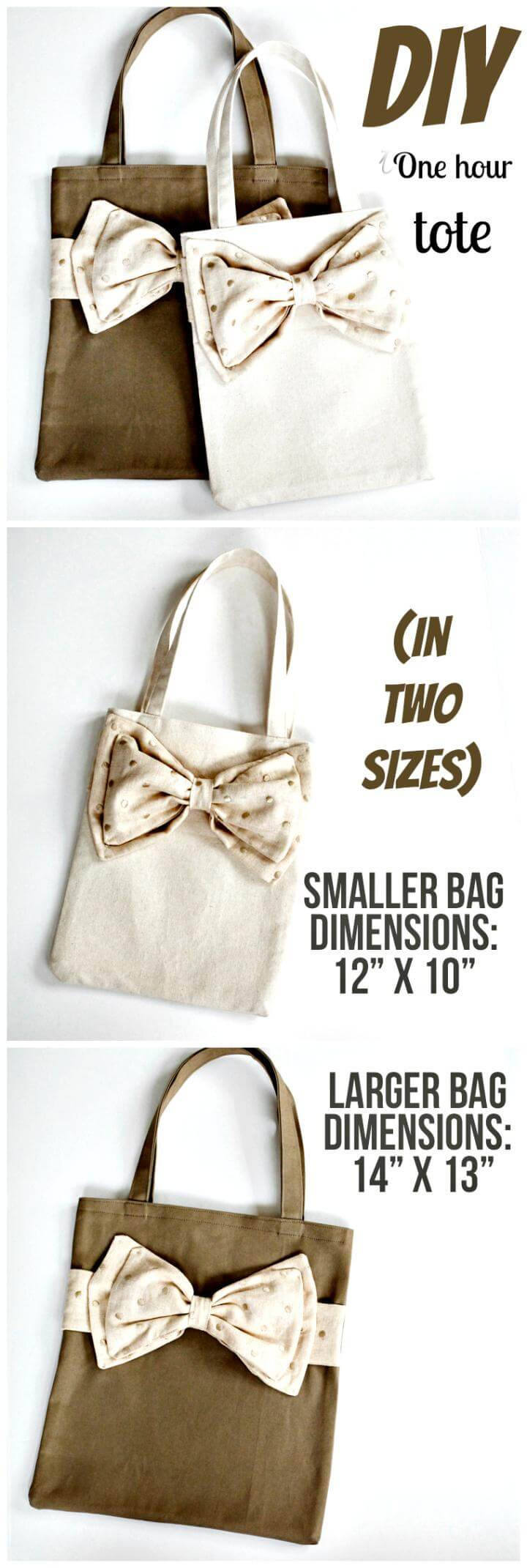 one hour DIY tote in two sizes