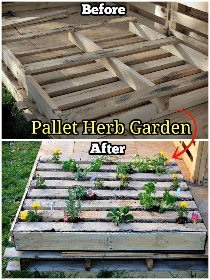 150 best diy pallet projects and pallet furniture crafts for Wood pallet herb garden