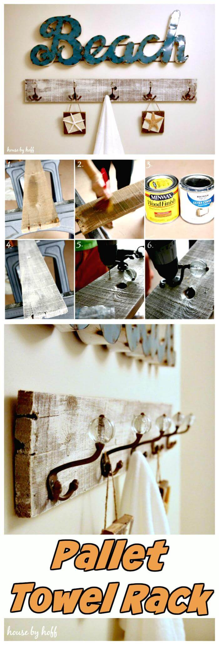 Towel hooks in bathroom - 150 Best Diy Pallet Projects And Pallet Furniture Crafts