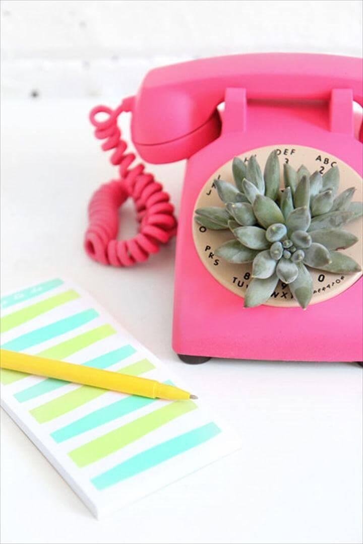 Super Beautiful Succulent Retro Phone