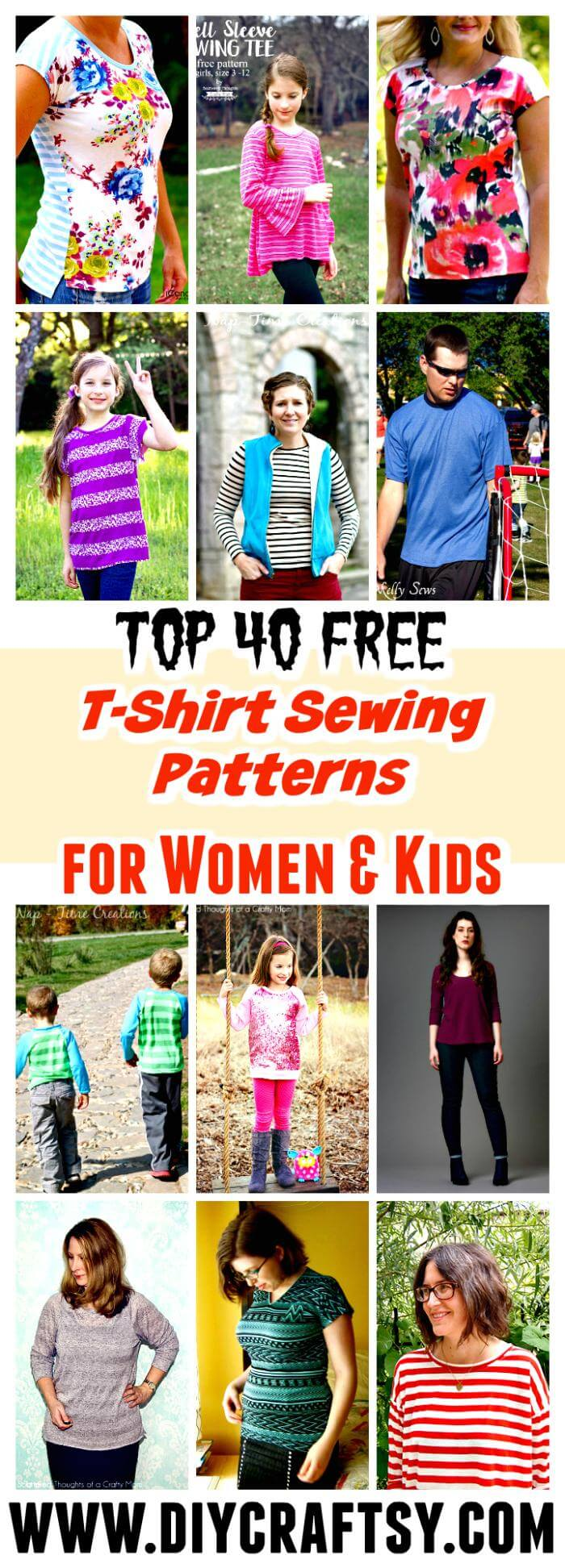 Top 40 Free T-Shirt Sewing Patterns for Women & Kids