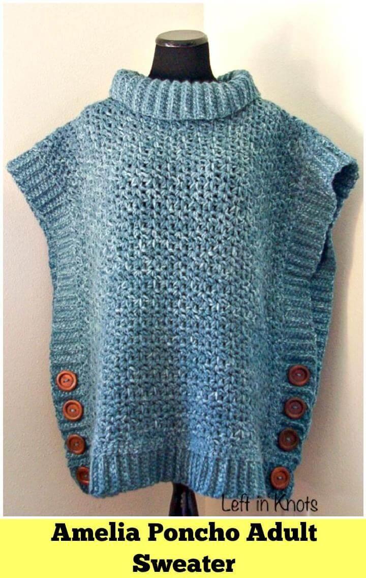 Amelia Poncho Adult Sweater - Free Crochet Patterns