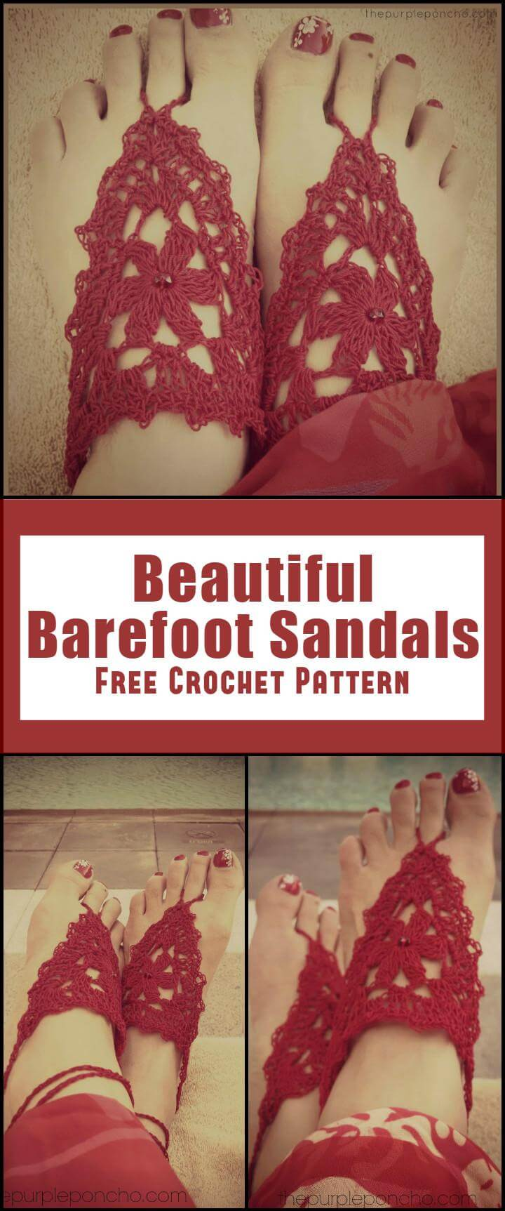 Beautiful Barefoot Sandals Free Crochet Pattern
