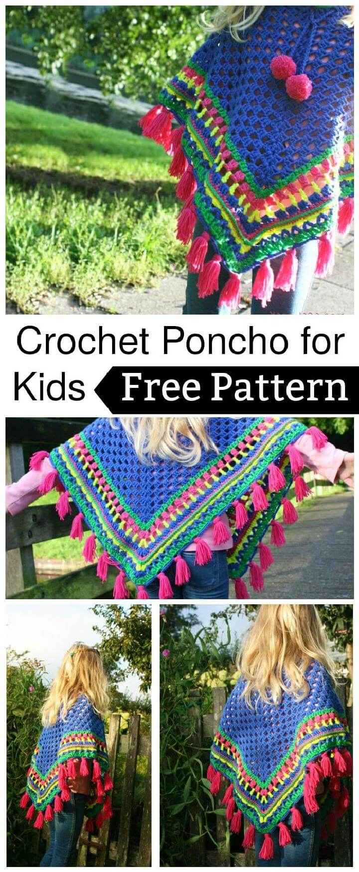 Cheerful crochet poncho for kids - Free Pattern