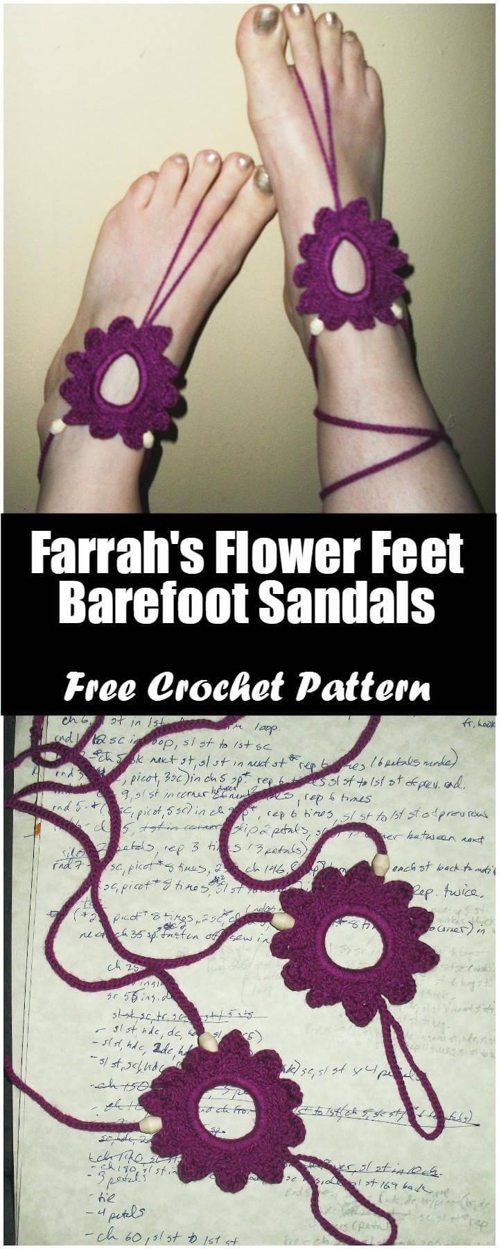 Crochet Farrah's Flower Feet Barefoot Sandals