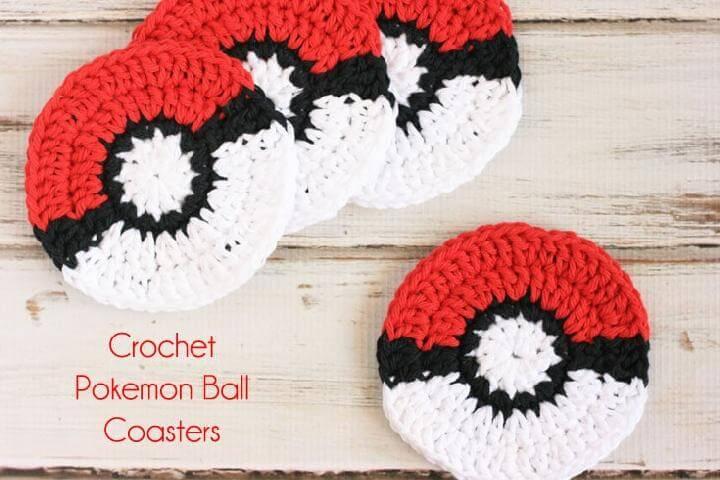 Crochet Free Pokeball Coasters Pattern and Tutorial