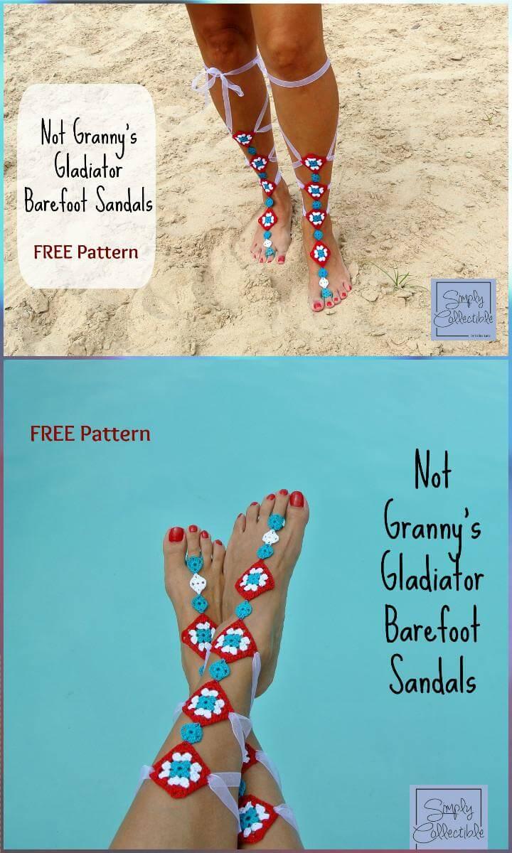 Crochet Not Granny Gladiator Barefoot Sandals