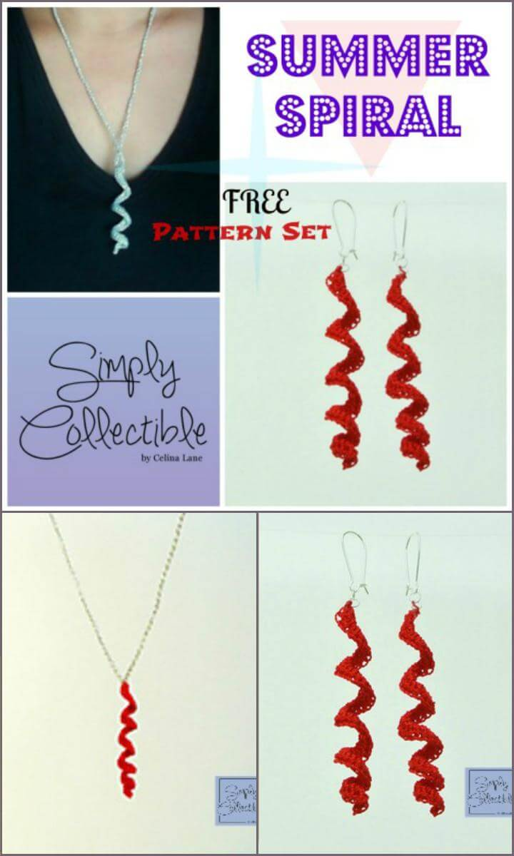 Crochet Summer Spiral Earrings and Necklace Set