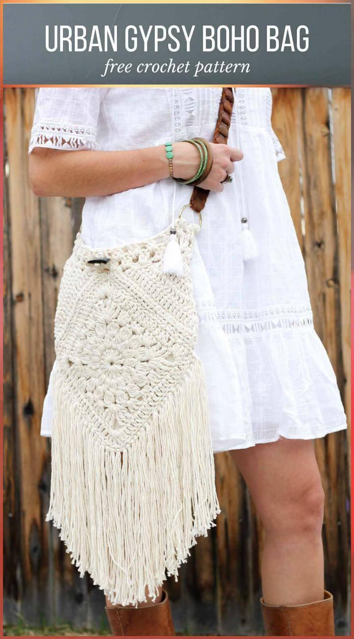 Crochet Urban Gypsy Boho Bag with Free Pattern
