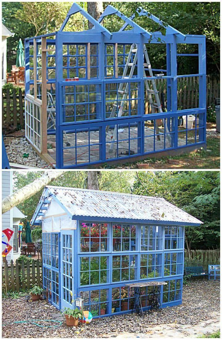 DIY Beautiful Blue Greenhouse Made of Old Windows