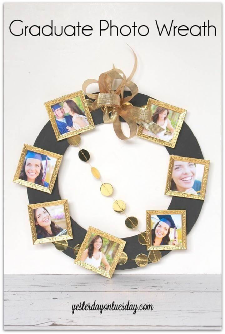 DIY Beautiful Graduation Party Photo Wreath