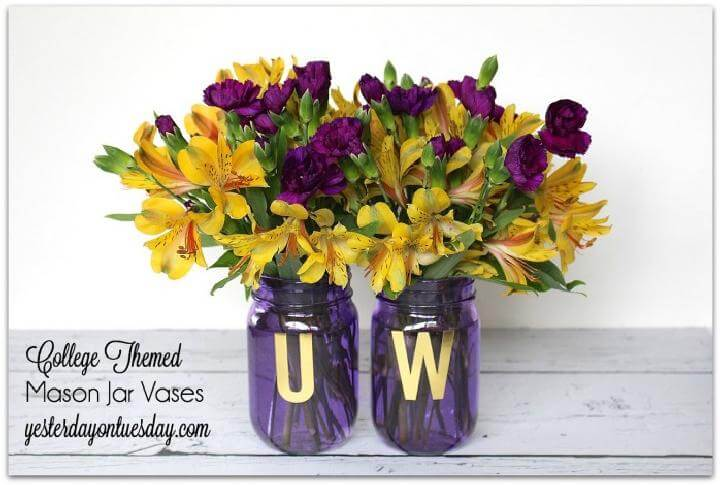 DIY College Themed Mason Jar Vases for Grad Party