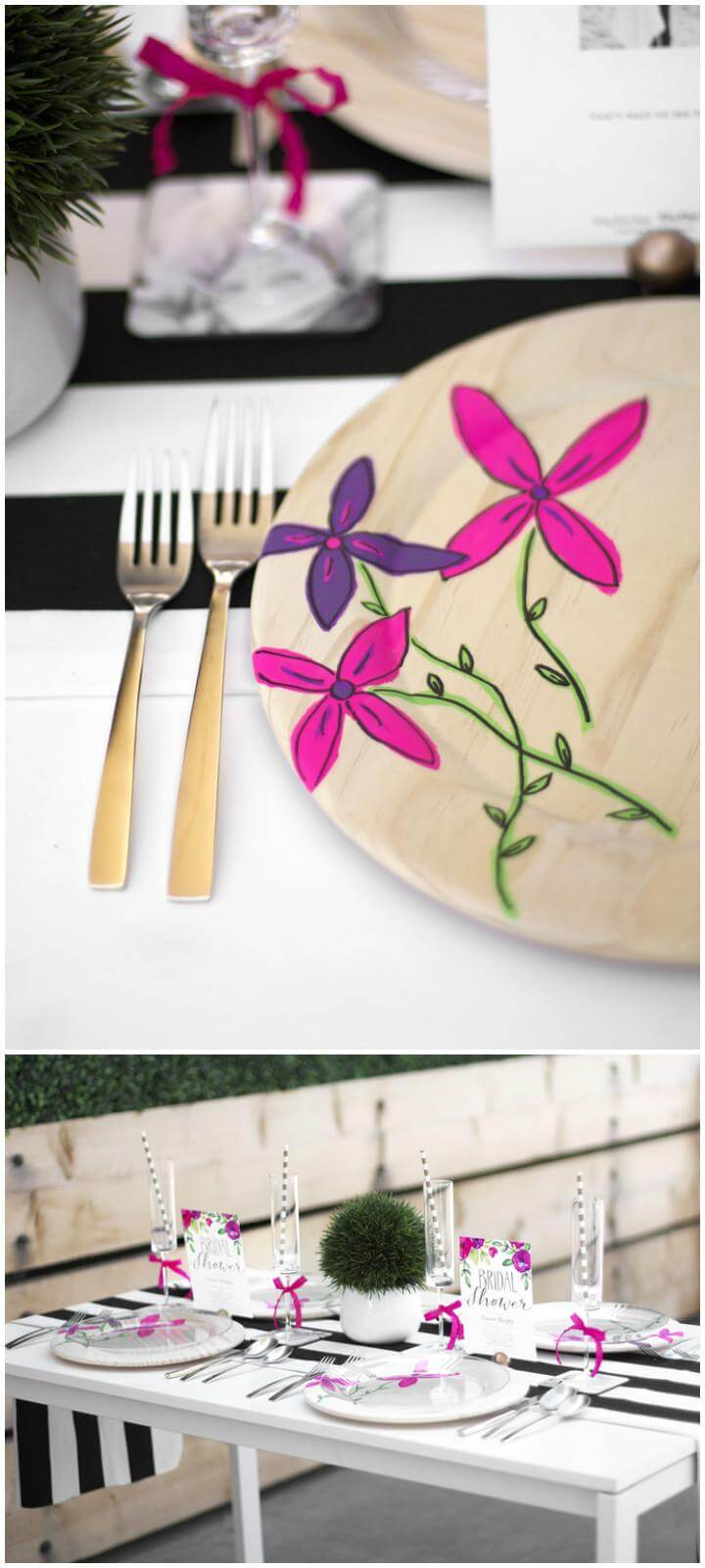 DIY Easy Graduation Party Floral Plate Chargers