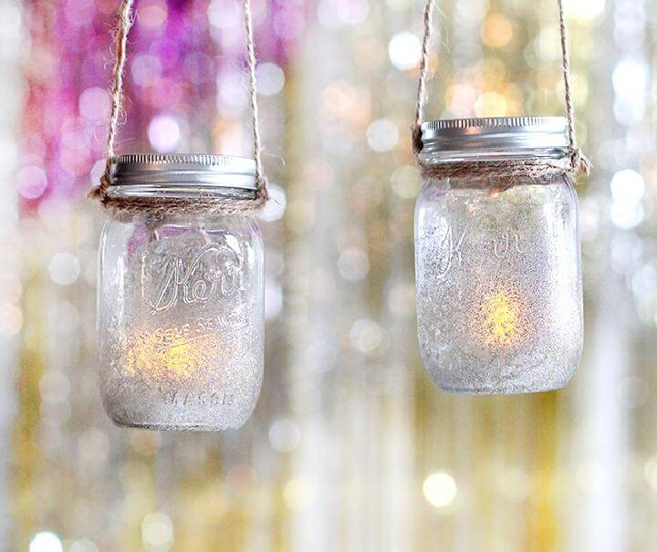 DIY Grad Party Mason Jar Hanging Lights