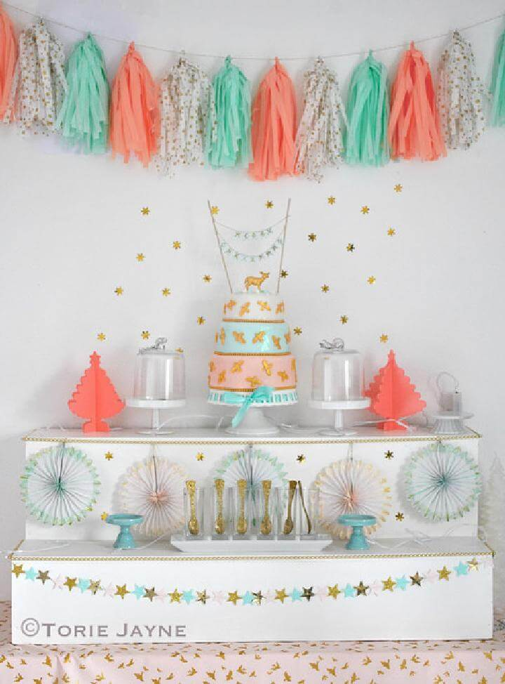 DIY Grad Party Tissue Paper Garland