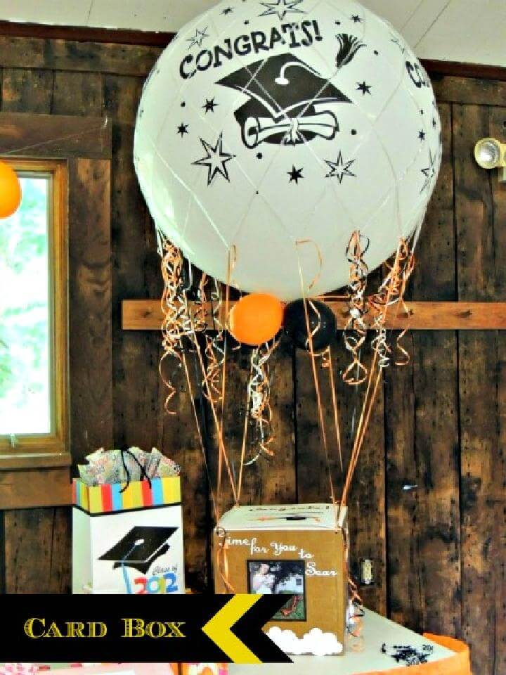 DIY Graduation Party Hot Air Balloon Card Box Centerpiece