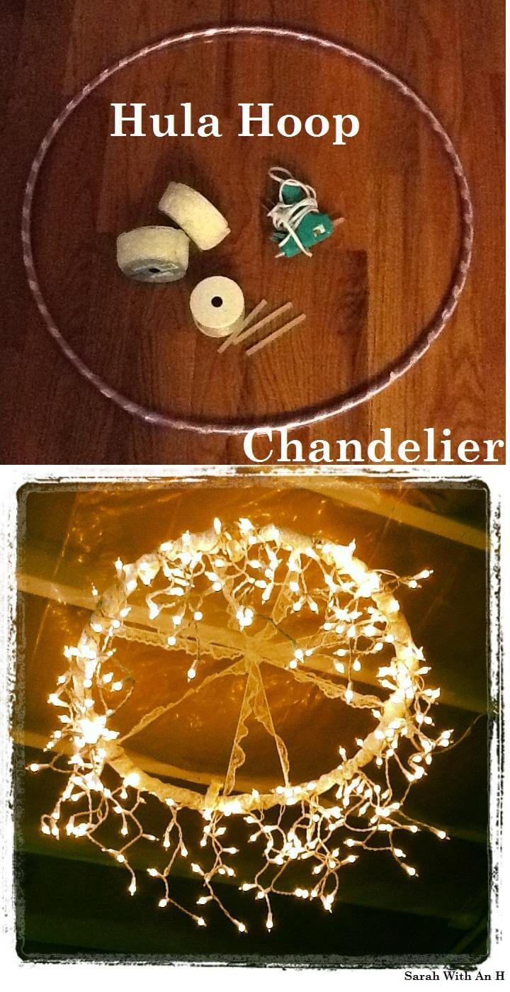 DIY Graduation Party Hula Hoop Chandelier