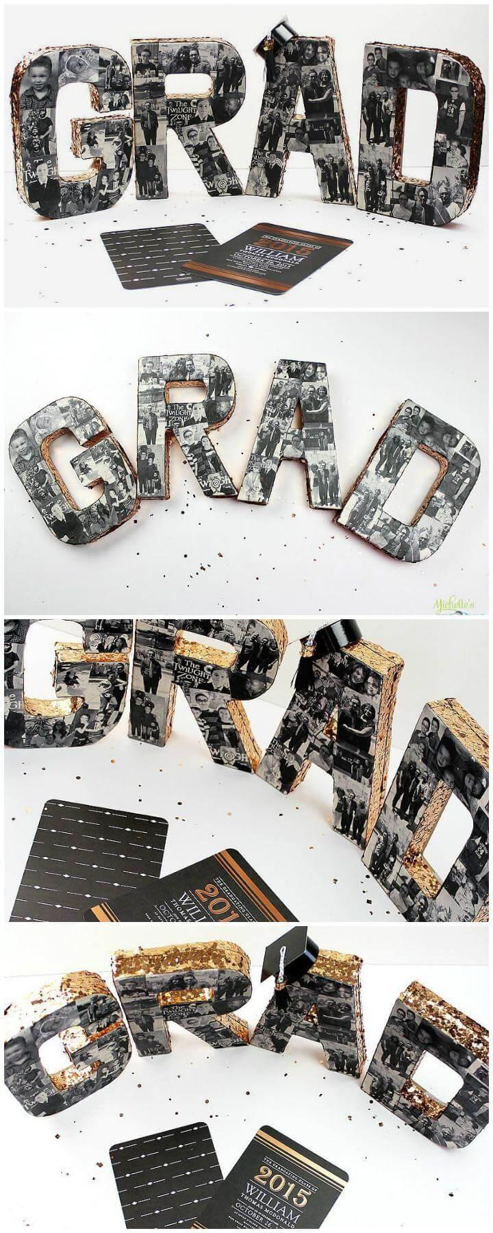 DIY Graduation Party Paper-Mache Photo Letters