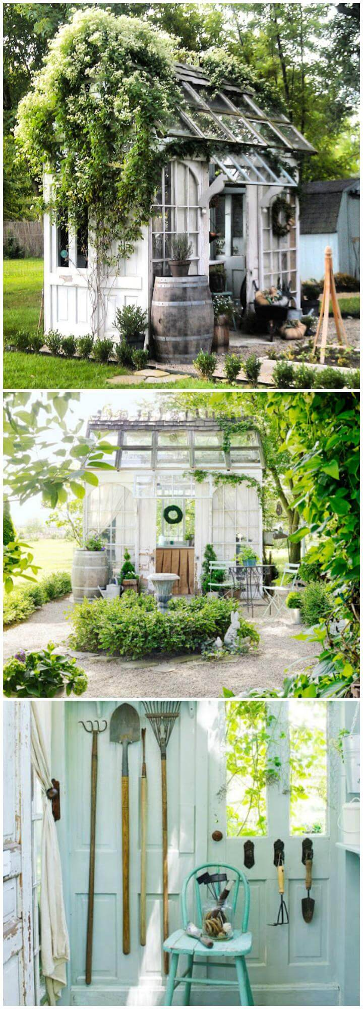 DIY Greenhouse Made of Old Windows and Doors
