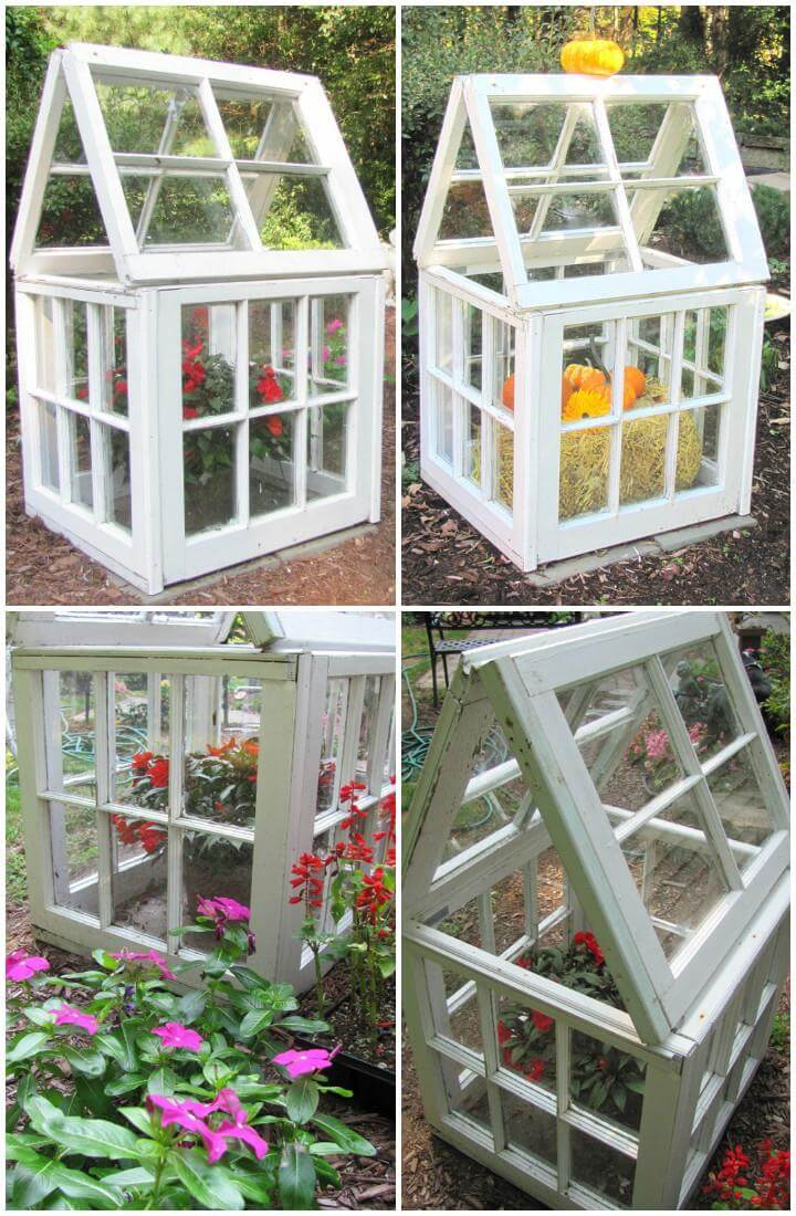DIY Little Repurposed Windows Greenhouse