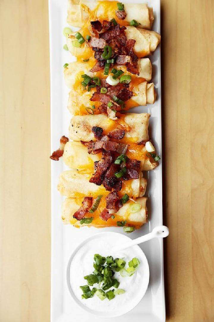 DIY Loaded Baked Potato Graduation Party Spring Rolls