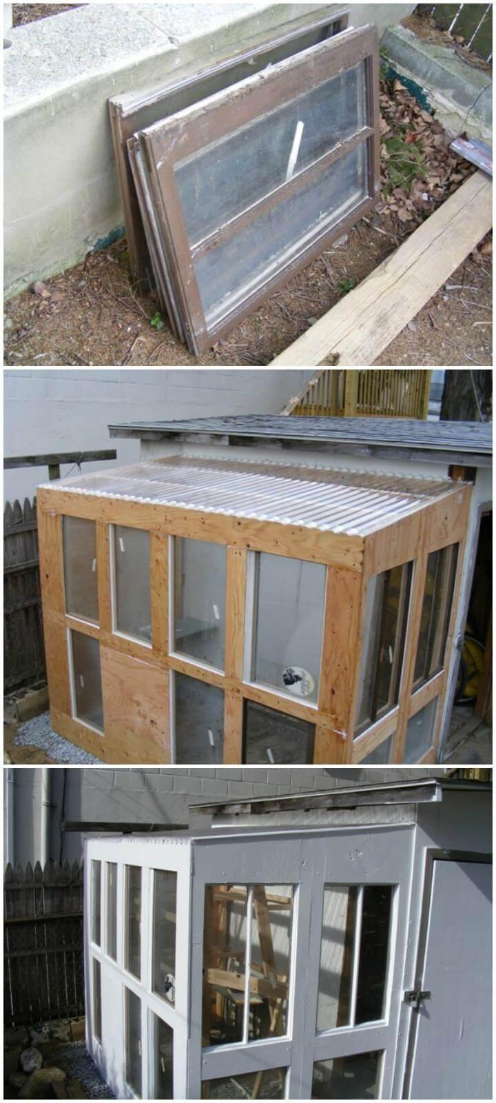 DIY Old Windows Urban Greenhouse