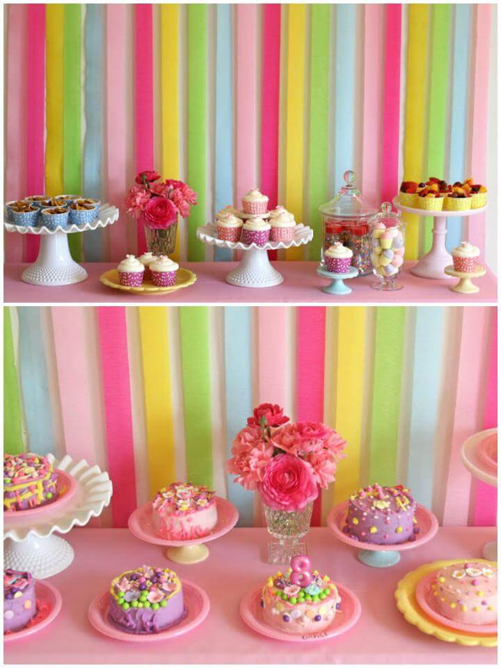 DIY Paper Ribbon Colorful Cakes and Candies Backdrop