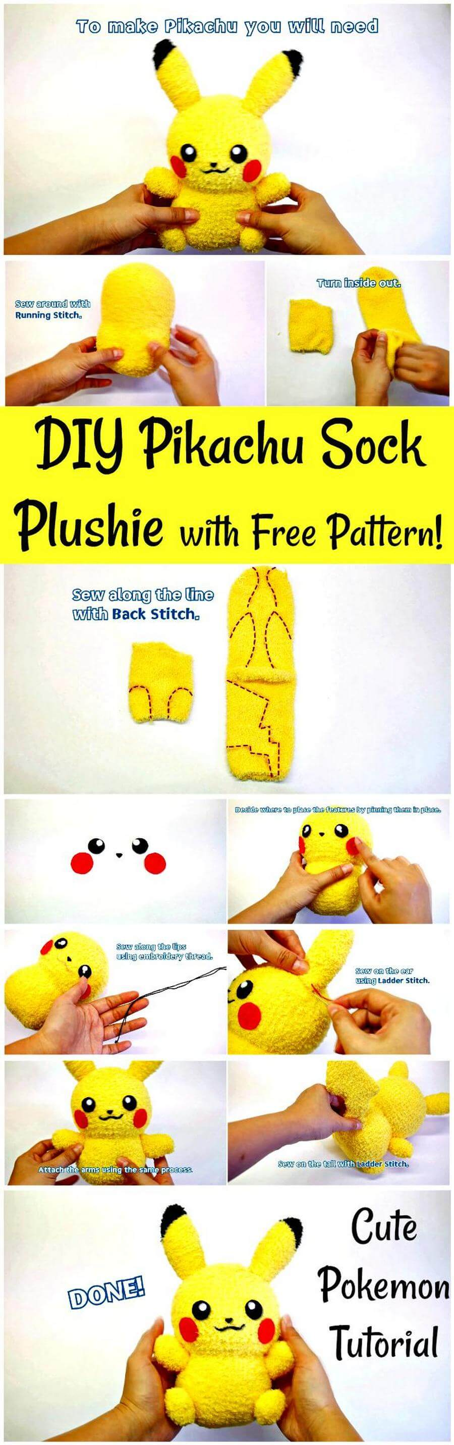 DIY Pikachu Sock Plushie with Free Pattern
