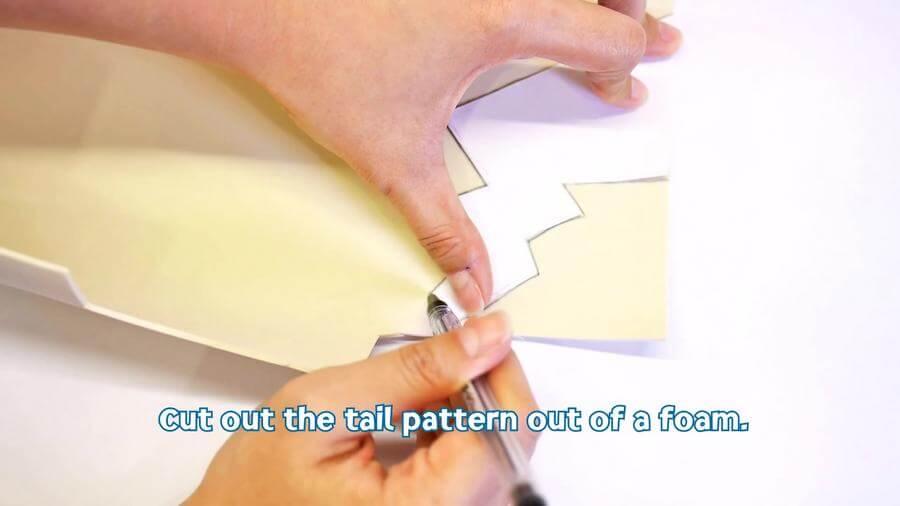 Cut the Tail pattern from Foam
