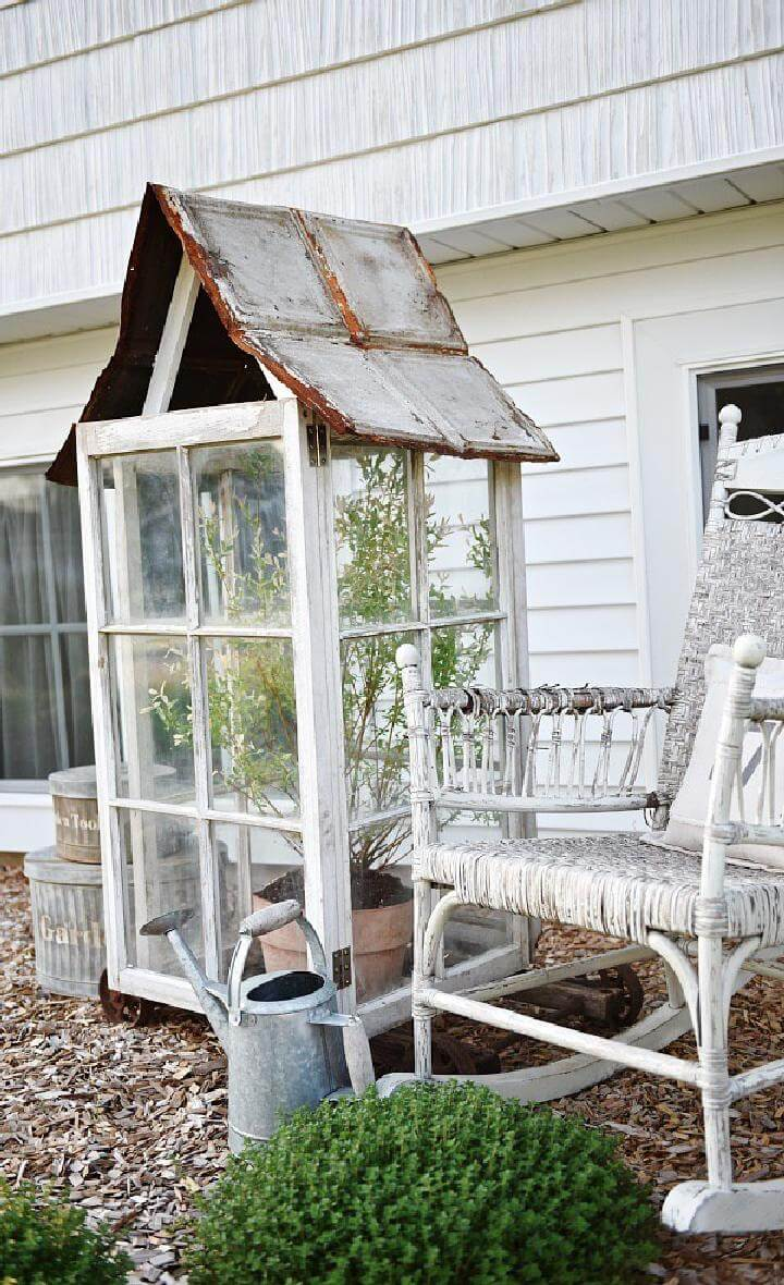 DIY Repurposed Window Rustic Mini Greenhouse