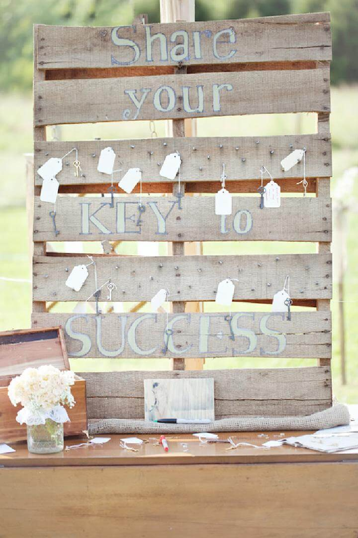 DIY Rustic Pallet Backyard Graduation Party Guest Book