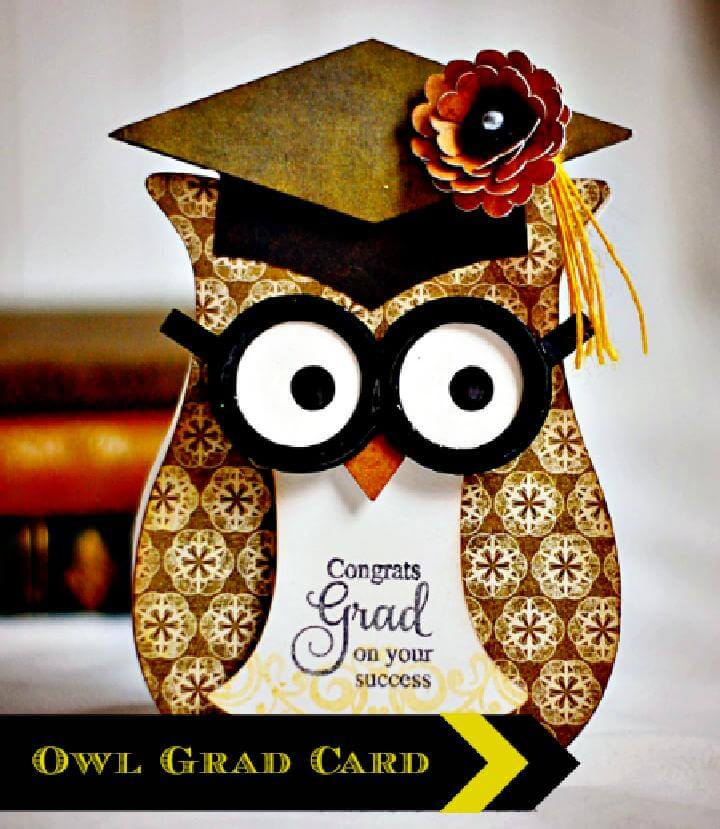 DIY Scrapbook Paper Owl Graduation Party Centerpiece